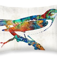 "Colorful Bird Art - Sweet Song - By Sharon Cummings Throw Pillow 20"" x 14"""