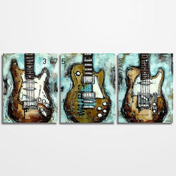 Guitar painting, Music Art, Gift for Musician, Les Paul, Guitar Art, Original Large Abstract Blue Brown Guitar Painting on canvas-  triptych