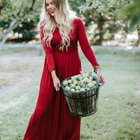 Ella Burgundy Long Sleeve Maternity Maxi Dress