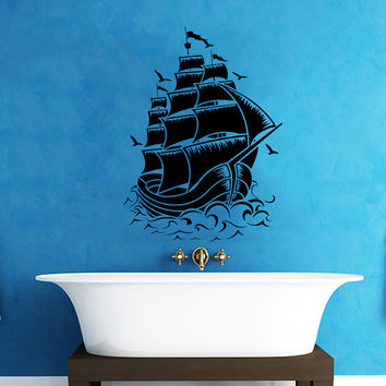 Pirate Ship Wall Decal Nautical Sea Boat Ocean Decals Wall Vinyl Sticker Interior Home Decor Family Art Wall Decor Bedroom Bathroom SV5864
