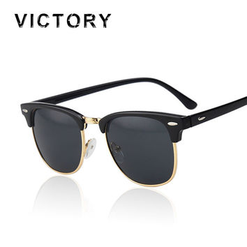 Classic Half Rims Mirror Fashion Sunglasses Men Women UV Protect to 100% Rivet Sun Glasses Male Female Shades Vintage Hot