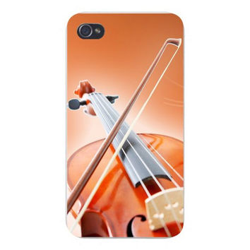Apple Iphone Custom Case 4 4s Plastic Snap on - Violin w/ Bow Closeup Orchestra Music