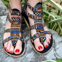 Womens Gladiator Sandals, Summer Shoes In Hmong Honey and Blue Embroidery Isadora