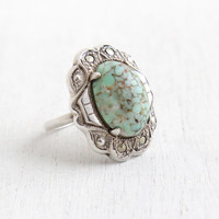Vintage Art Deco Teal Stone & Marcasite Ring - Antique Size 5 1/2 1930s Sterling Silver Simulated Turquoise Art Glass Jewelry