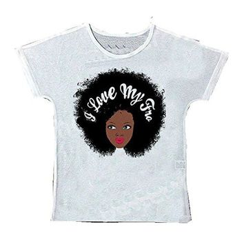 "Womens "" I Love My FRO "" with White T-Shirt / Top"