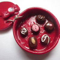 Polymer Clay Valentines Day Chocolate Box Charm, Valentines Day Charm, Miniature Food,