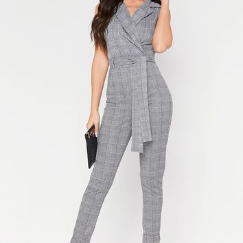 Sophie Grey Check Sleeveless Jumpsuit
