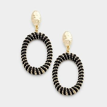Thread Wrapped Oval Hoop Earrings