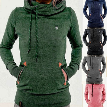 Women's Long Sleeve Heaps Collar Hooded Hoodies Draw Cord Pure Color Pocket Sport Coat Sweater Shirts S-XL = 5618503809
