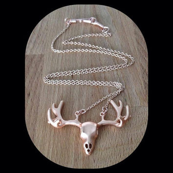 REAL Rose Gold Plated Necklace With Hand Wrapped Clasp Deer Skull, Acorn, Feather, Shark Tooth, Wishbone