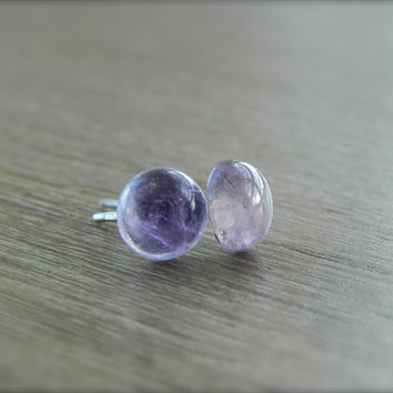 Amethyst Stud Earrings - Small Lavender Amethyst Stud Earrings
