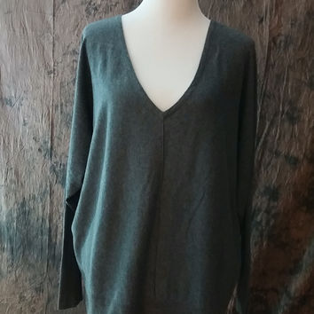 Lane Bryant Knit Shirt Plus Size 18/20 Women's Comfy Knit Top Grey Long Sleeve Deep V