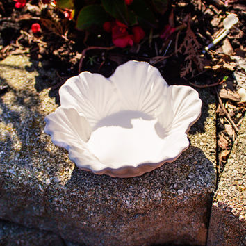 "Small Leaf Candle Holder 5.8"" Ready to Paint Pottery Ceramic Bisque"