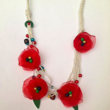 Red Poppy Necklace, Organza poppies necklace, Impact necklace, Spring coral red poppies, natural recycled cotton string wooden beads