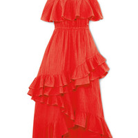 Rhode Resort - Salma off-the-shoulder ruffled cotton-voile maxi dress