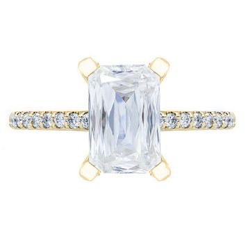 **NEW Criss Cut Heirloom Moissanite 4 Prongs Diamond Accent Ice Solitaire Ring