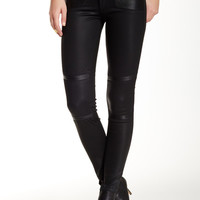 River Leather Moto Paneled Coated Skinny Jean