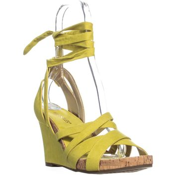 Aerosole Lilac Plush Wedge Lace Up Sandals, Yellow, 9.5 US