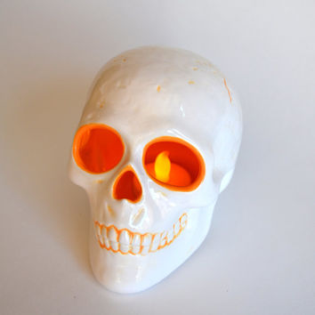 Ceramic Halloween Skull Lantern, White and Orange