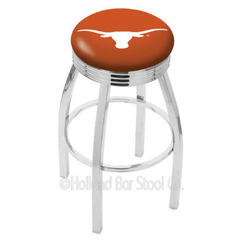 Holland Bar Stool L8C3C - Chrome Texas Longhorns Swivel Bar Stool w/ 2.5 Inch Ribbed Accent Ring