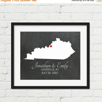 20% OFF SALE Valentines Day Gift - Kentucky State Map - Custom Wedding Gift  - Couples Gift Map - Couples Map Art - Personalized Engagement