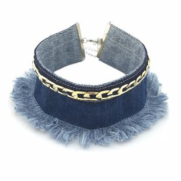 Fringed Denim Choker