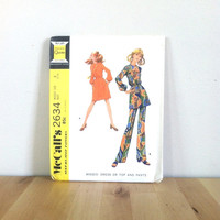 McCall's 2634 Misses' Dress or Top and Pant: A Step-By-Step Pattern {1970s} Vintage Sewing Pattern
