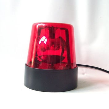 vintage 1980's red beacon light strobe lighting lamp party entertaining decorative home decor retro man cave emergency mens electric plug in