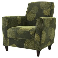 Contemporary Green Fabric Flared Arm Accent Chair with Wood Legs