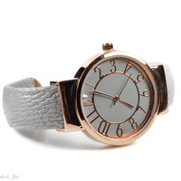 Rose Gold and Grey Bangle Cuff Watch