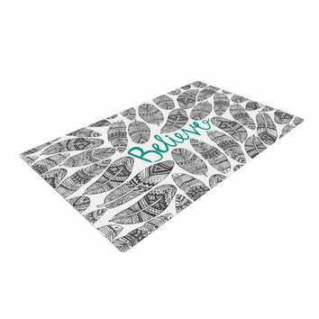 "Pom Graphic Design ""Believe"" Gray Teal Woven Area Rug"
