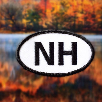 "New Hampshire NH Patch - Iron or Sew On - 2"" x 3.5"" - Embroidered Oval Appliqué - Granite State - Black White Hat Bag Accessory Handmade USA"