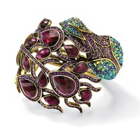 Multi-Color Crystal Peacock Hinged Bangle Bracelet in Yellow Gold Tone