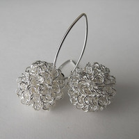 Spiral Wire Ball - Sterling Silver Earrings