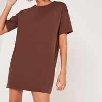Missguided - Scuba T-Shirt Dress Brown