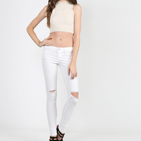 Lightweight Ripped Skinny Jeans - 7