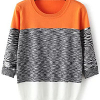 Orange Knit Half Sleeve Sweater