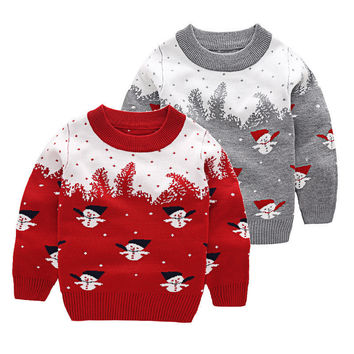 Christmas gift knitted cotton kids sweater  snowman cartoon warm thick baby boys girls pullover red gray autumn winter clothing