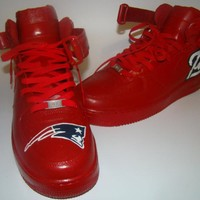 New England Patriots Red Mid-Top Nike Air Force Ones