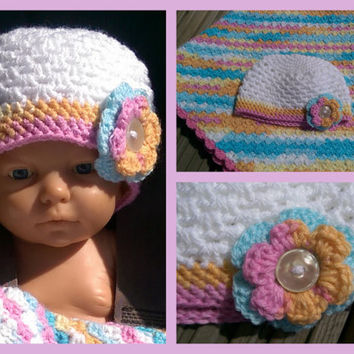newborn crochet hat, crochet beanie hat, baby girls flower hat, pink turquoise yellow hat, new baby/ baby shower gift, custom made hat