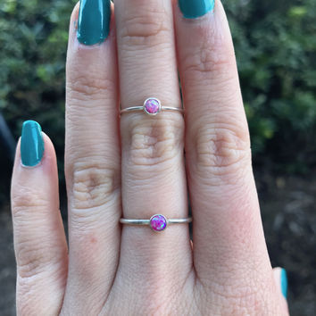 Hot Pink Opal Stacking Ring - Ready to Ship