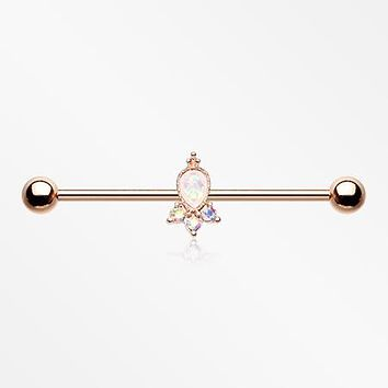 Rose Gold Victorian Opalescent Sparkle Industrial Barbell