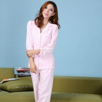 DCCKU62 Female Long-Sleeve Pajama Red White Striped Pajamas Pyjama Femme Sleepwear Women Pijama