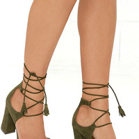 Report Mariachi Olive Suede Leather Lace-Up Heels
