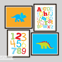 Dinosaur Prints -  ABC's and 123's Prints. Dino Decor, Kids Rooms, Nursery Decor, Children's Wall Art, Playroom Decor, Boys or Girls Room