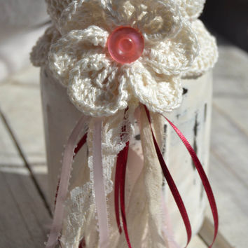 Mason Jar Top Gift Package Shabby Jar Cozy Topper