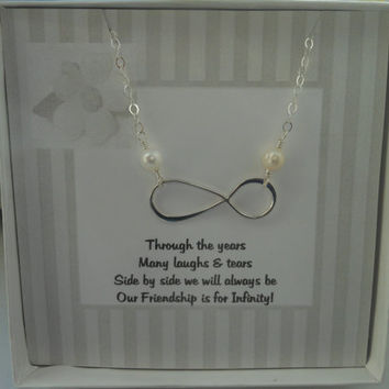 Infinity Necklace,Gifts for Best Friends, Pearl Necklace, Sisterhood, Sterling Silver Jewelry, Friendship Gift, Silver Infinity, Bridesmaids
