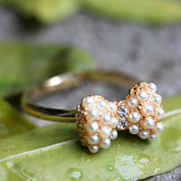 Gift Jewelry Stylish Shiny New Arrival Korean Accessory Gold Pearls Butterfly Ring [6586192711]