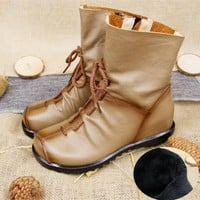 Trendy Woman Martin Boot Shoes 2017 Winter Non Slip Leather Round Toe Boots