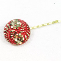 Red flower hair pin, gold flower hair pin, valentines hair pin, red and gold bobby pin, vintage flower bobby pin, red and gold hair pin